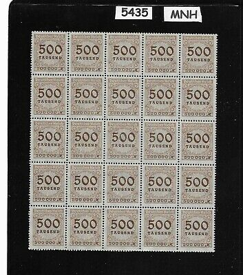#5435   MNH Stamp block - sheet / 1923 Issue Inflation era Germany / 500,000 Mk