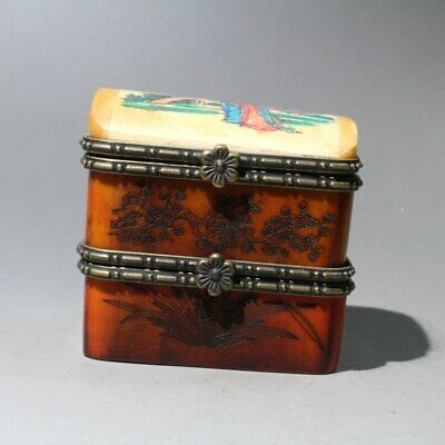 Collectable China Boxwood Mosaic Copper Beautiful Delicate Noble Old Jewelry Box