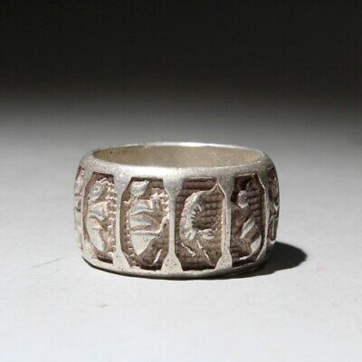 Collectable China Handwork Old Miao Silver Carve Chinese Zodiac Interesting Ring