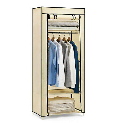 Single Canvas Fabric Wardrobe Clothes Cupboard Shelves Storage Organizer Hanging