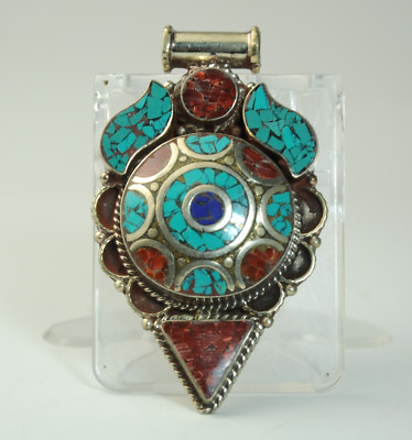 Collection chinese old hand-made Tibetan silver inlay Turquoise pendant 010/Aa02