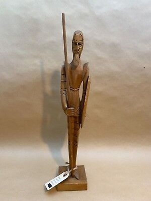 """Vintage Hand Carved Wood Warrior Armor Spear & Shield Statue 18"""" Tall"""