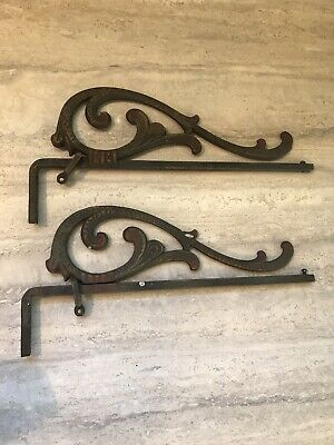 Antique Art Deco Cast Iron Swing Arm Curtain Rods Painted Detail