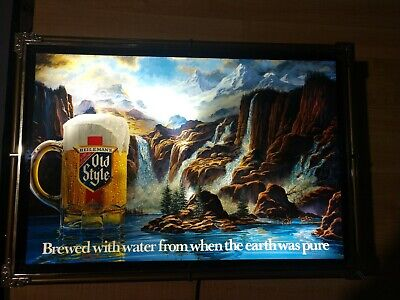 Vintage 1986 OLD STYLE BEER WATERFALL GORGE MOTION BAR LIGHTED SIGN HEILEMANS