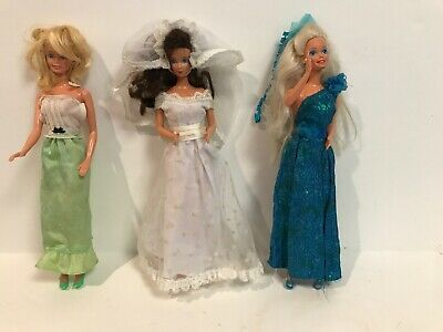 Lot Of 3 Barbie Dolls Marked Mattel 1966 Bride All 3 With Shoes