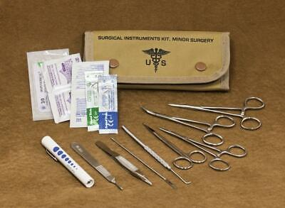 Elite First Aid Emergency Field Minor Surgical Kit Tan Canvas Suture Set NEW