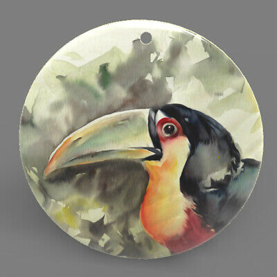 Mother of Pearl Shell Toucan Color Printing Pendant Necklace J1705 0481
