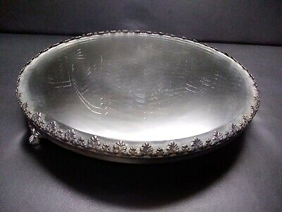 "Vintage Victorian Round 10"" Mirror 3 Footed Plateau  Beveled Silver Plate"