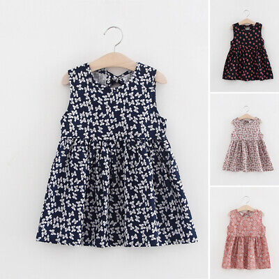 Toddlers Dress Baby Girls Holiday Summer Cotton Dress Pleated Sleeveless