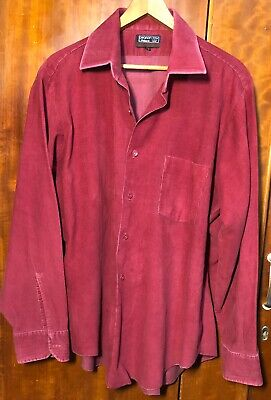 Maroon 1970s XL Pearson Law By Pelaco Corduroy Shirt Retro Vintage