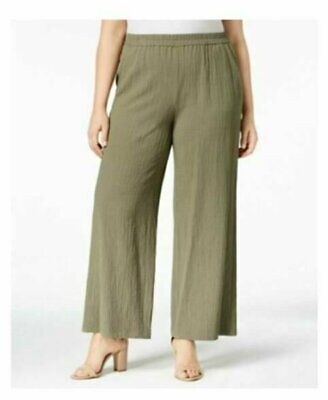 NEW Women's JM Collection Plus Textured Wide-Leg Pants Olive Green Size 3X