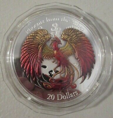 2015 $20 Phoenix Rising from the Ashes Sillver Proof Coin - colour huge 60mm 3oz