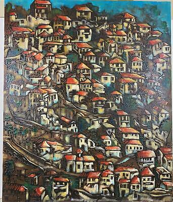 LARGE Signed ALDEN Populated Rooftop Houses On Hillside Canvas Oil Painting