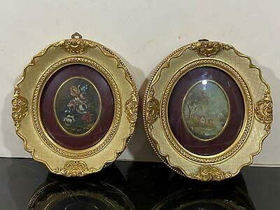Vintage Signed 2pc Oval Mini Floral Bouquet Victorian Oil Paintings Italy