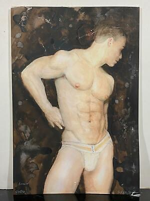 Signed Fine Exotic Hunk Toned Portrait of Male Torso Body Watercolor Painting