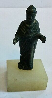 Ancient Roman Bronze of Man in Robe - Mounted Marble Base - Authentic Ancient