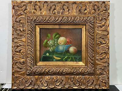 Signed Jenkins Still Life Fruit Bowl Peaches Grapes Painting Canvas Gilt Frame