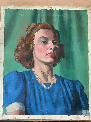 Vintage Portrait of Snobby Poised Female Realistic Oil Painting On Canvas
