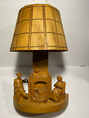 Vintage Table Lamp Hand Carved Wood Folk Art G. Fortin Figural Family Signed !!