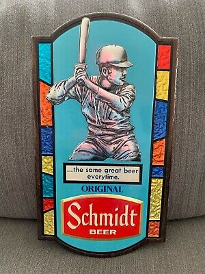 Schmidt beer baseball sign stained glass appearance 1973