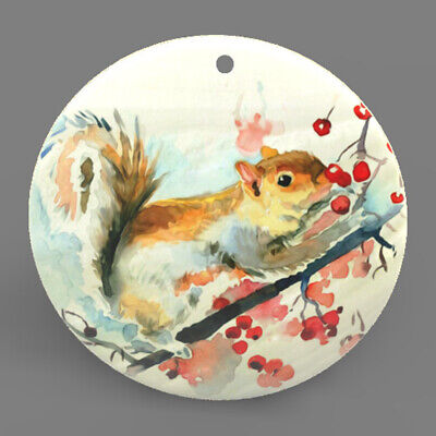 Mother of Pearl Shell Squirrel Color Printing Pendant Necklace J1705 0412