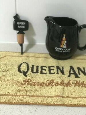 Queen Anne scotch whisky collectables jug&pourer&bar mat