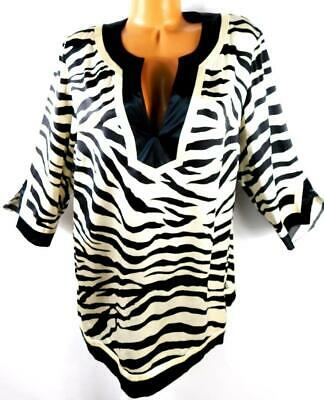 Inc ivory white black satiny animal print split sleeve v neck silk top 16W