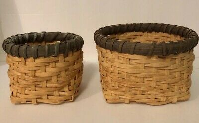 "Pair Of Wooden Baskets Hand Woven  Round Signed By Artist 6"" & 4"" Dated 1995 VGC"