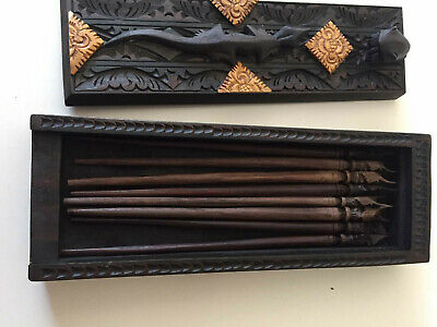 Ornate Carved Wooden Hair Pin Clip Box African Asian Indonesian Native Stick Bun