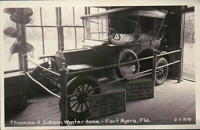 Thomas A. Edison Winter Home Fort Myers Florida Car - Real Photo Postcard RPPC