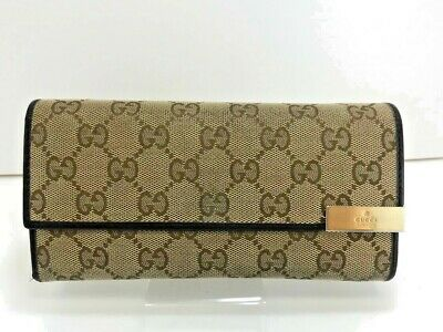 GUCCI GG Canvas Leather Bifold Long Wallet Purse Gold Clasp Italy 56009618