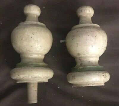 "Turned Solid Wood Vtg Pair 2 Finials Decor Architectural Furniture 4.5"""" x 2.5"""