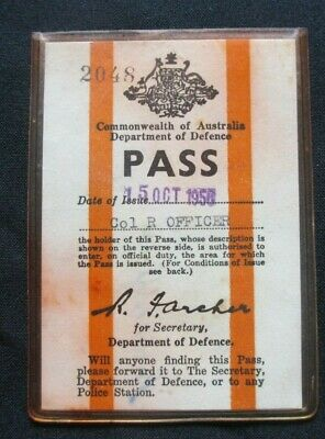 Circa 1958 October Defence Pass Commonwealth Of Australia Department Of Defence.