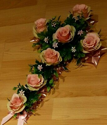 "Funeral flowers, Memorial,Tribute, artificial, Wreath 21"" pink roses."
