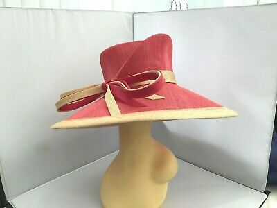 Ladies Pink Wide Brim Hat Weddings/Races/Occasions By Cappelli Condici New/Ta