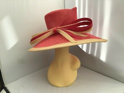 Ladies Pink Wide Brim Hat Weddings/Races/Occasions By Cappelli Condici New