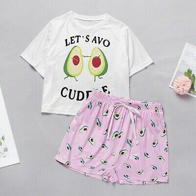 Women's Sleepwear Cute Cartoon Print Short Pyjamas Set Summer Homewear Nightwear