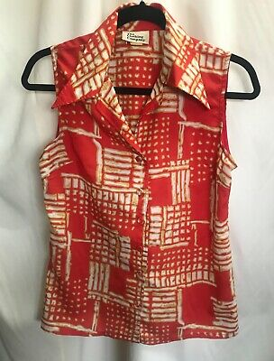 VINTAGE Blouse sleeveless Top Fits 10-12 Womens  Retro Funky 1970's