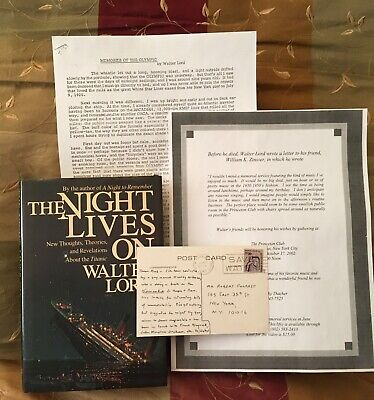"""Titanic White Star Line Walter Lord Autograph Signed Card """"The Night Lives On"""""""