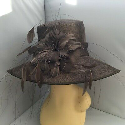 Ladies Brown Wide Brim Hat Weddings/Races/Occasions New W/O Tags By Hat Box