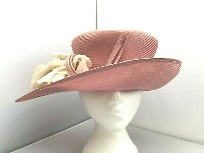 Ladies Dusky Pink Wide Brim Hat Weddings/Races/Occasions New W/O Tags, Whiteley