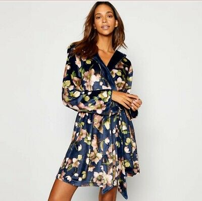 BNWT B by Ted Baker Navy Short Floral Print Arboretum Dressing Gown 12-14  NEW
