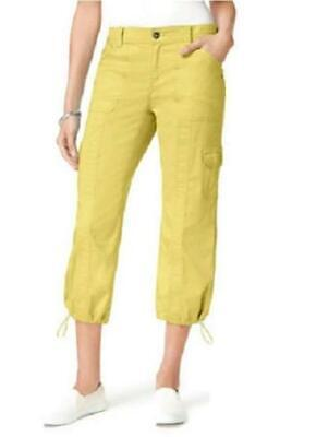 Style&Co Bungee Hem Cargo Capri Pants Yellow Breeze Womens Sz 6 NWT