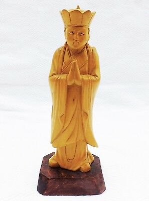 Antique hand carved boxwood wood Oriental Chinese Tibetan figure Monk Tripitaka