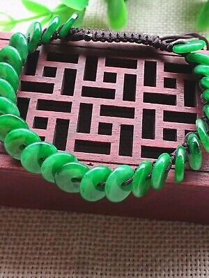 Icy Emerald Sun Green Jadeite Jade Dontus Beads Bracelet Bangle CERTIFIED GRadeA