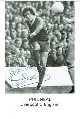 Phil Neal  FC Liverpool Club Card  - Hand Signed !!