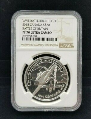 2015 $20 WWII Battlefront Series - Battle Of Britain NGC PF70 Ultra Cameo