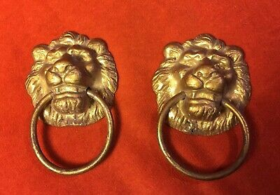 Two Large Brass Lion Head Ring Pulls Furniture Hardware