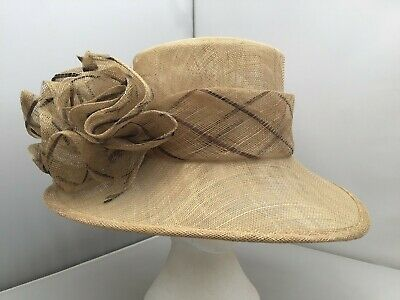 Ladies Cream Wide Brim Hat Weddings/Races/Occasions Good Condition By Balfour