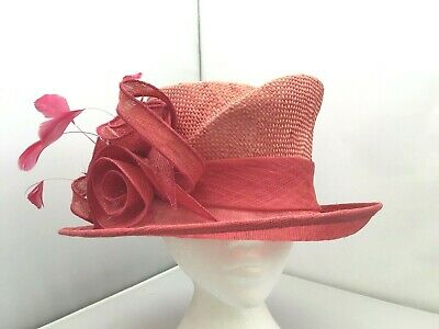 Ladies Pink Wide Brim Hat Weddings/Races/Occasions New W/O Tags,Roman Originals